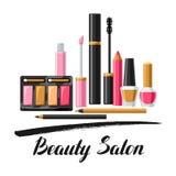 Cosméticos para el skincare y el maquillaje Fondo para el catálogo o la publicidad stock de ilustración