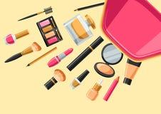 Cosméticos para el skincare y el maquillaje fuera del bolso Fondo para el catálogo o la publicidad stock de ilustración