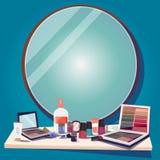 Cosméticos para que maquillaje y espejo substituyan su texto - vector Foto de archivo