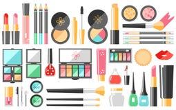 Cosméticos planos del vector fijados Productos de la moda de la belleza C decorativa Imagen de archivo libre de regalías