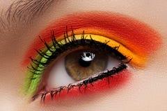 Cosméticos, sombreadores de ojos. Maquillaje macro del ojo de la manera Imágenes de archivo libres de regalías