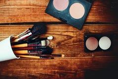 Cosméticos y accesorios para el maquillaje Imagen de archivo libre de regalías
