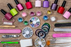 Cosméticos y accesorios para la manicura Foto de archivo