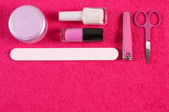 Cosméticos y accesorios para la manicura o la pedicura, concepto de cuidado del clavo Fotos de archivo