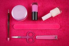 Cosméticos y accesorios para la manicura o la pedicura, concepto de cuidado del clavo Imágenes de archivo libres de regalías