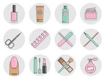 Cosméticos y manicura de los iconos Fotos de archivo libres de regalías