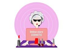 Cosmétique en ligne de magasin Vecteur plat de conception Images stock