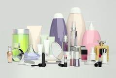 Cosmétique quotidien, de beauté de soin et produits de maquillage Bouteille de pompe pour la crème de visage Photos stock