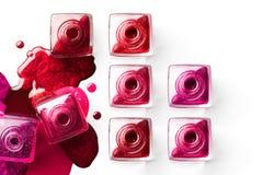 Cosmétiques d'art de clou met le vernis à ongles coloré Image libre de droits