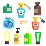 Cosmétiques de Bath dans des icônes de bouteilles et de tubes réglées Images libres de droits