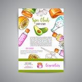 Cosmétiques de broshure de club de station thermale et éléments tirés par la main d'aromatherapy Croquis de bande dessinée de cos Photos stock