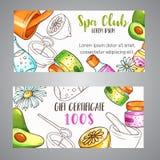 Cosmétiques de broshure de club de station thermale et éléments tirés par la main d'aromatherapy Croquis de bande dessinée de cos Photos libres de droits