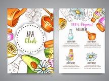 Cosmétiques de broshure de club de station thermale et éléments tirés par la main d'aromatherapy Croquis de bande dessinée de cos illustration libre de droits