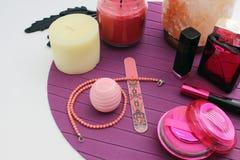 Cosmétiques et accessoires féminins Photo libre de droits