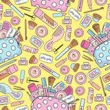 Cosmétiques sans couture de fond Outils de cosmétiques de maquillage et cosmétiques de beauté Retrait de dessin à main levée Bago illustration de vecteur
