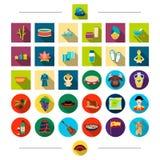 Cosmétiques, soin, hygiène et toute autre icône de Web dans le style de bande dessinée Habillement, attributs, nourriture, icônes Photographie stock libre de droits