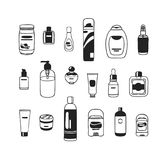 Cosmétiques tirés par la main d'illustration réglés Oeuvre d'art créative d'encre Produits de beauté réels de dessin de vecteur Photos stock