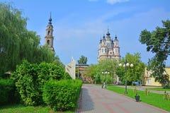 Cosmas和达米扬的寺庙在卡卢加州市,俄罗斯 库存图片