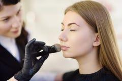 Cosmetólogo que aplica el tono de la fundación usando cepillo especial en modelo hermoso joven de la cara Cuidado facial y compon fotografía de archivo libre de regalías