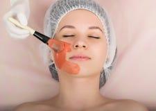 Cosmetólogo que examina la cara de un cliente femenino joven en el salón del balneario El cosmetólogo hace la máscara cosmética e Imágenes de archivo libres de regalías