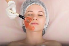 Cosmetólogo que examina la cara de un cliente femenino joven en el salón del balneario El cosmetólogo hace la máscara cosmética e Fotos de archivo libres de regalías