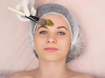 Cosmetólogo que examina la cara de un cliente femenino joven en el salón del balneario El cosmetólogo hace la máscara cosmética e Imagen de archivo libre de regalías