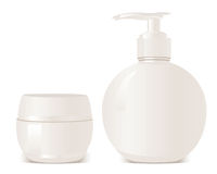Cosmet s soap and gel containers Royalty Free Stock Photo