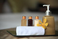 Cosmetic. Amenities in a 5 star Spa resort Royalty Free Stock Photo