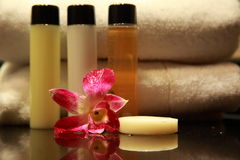 Cosmetic. Amenities in a 5 star Spa resort Stock Photo