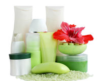 Cosmetic. Collection of cosmetic for the bath on white Stock Photography