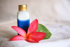 Cosmetic. Lotion, bloom and leaf, taken at a Thai Spa Royalty Free Stock Photo
