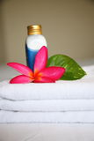 Cosmetic. Lotion, bloom and leaf, taken at a Thai Spa Stock Image