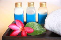 Cosmetic. Lotion, bloom and leaf, taken at a Thai Spa Stock Photos