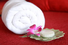 Cosmetic. Soap, bloom and towel, taken at a Thai Spa Royalty Free Stock Image