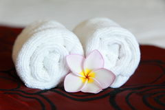 Cosmetic. Frangipani and towel, taken at a Thai Spa Royalty Free Stock Photos