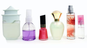 Cosmetic 3. One bottle of nail polish and several bottles of perfume are displayed Royalty Free Stock Photography
