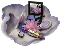 Cosmetic. Arrangement of cosmetic products on a flower isolated on white Stock Photography