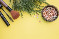 Cosmetic accessories. Brush, blush, lipstick, green branches on a yellow background stock photo