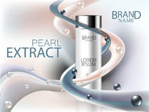 Cosmetic ads, Black and white pearls extract with cosmetic bottle and waves of cream. Face care, body care and skin cosmetic. Stock Photo