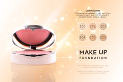 Cosmetic ads. 3D cheek blush or make up promotion powder ads. Modern Premium VIP ccosmetics package background. Make-up. Powder for sale. Elegant face powder vector illustration