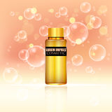 Cosmetic ads. Gold bottle package design with moisturizer cream or liquid. Stock Photos