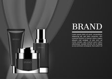 Cosmetic ads, night cream set with black milk background mock up. S Stock Images