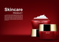 Cosmetic ads, opened moisturizer cream on red background.  Royalty Free Stock Image