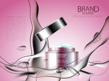 Cosmetic ads with splash of water and lotion around. Face tonal cream with essence. Vector illustration Stock Photos