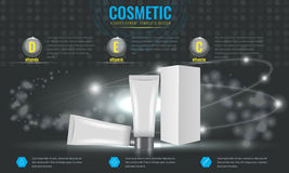 Cosmetic ads template with abstract sparkling effect background. Royalty Free Stock Photos