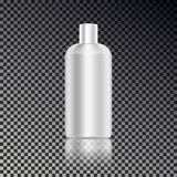 Cosmetic ads template, blank cosmetic mockup bottle with transparent reflection isolated on dark ba. Ckground. Realistic white 3D vector illustration Royalty Free Stock Image