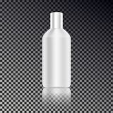Cosmetic ads template, blank cosmetic mockup bottle with transparent reflection isolated on dark ba. Ckground. Realistic white 3D vector illustration Royalty Free Stock Photos