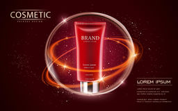 Cosmetic ads template. Cream tube mockup isolated on scarlet background. 3D illustration. sparkling effect on the background Royalty Free Stock Images