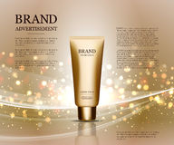 Cosmetic ads template, droplet bottle mockup isolated on dazzling background. Golden foil and bubbles elements. 3D Royalty Free Stock Photo