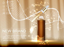 Cosmetic ads template, glass droplet bottle with essence oil isolated on brown background. stock photo
